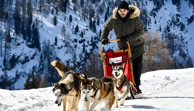 slitta trainata dai cani nelle escursioni dell'Husky Village