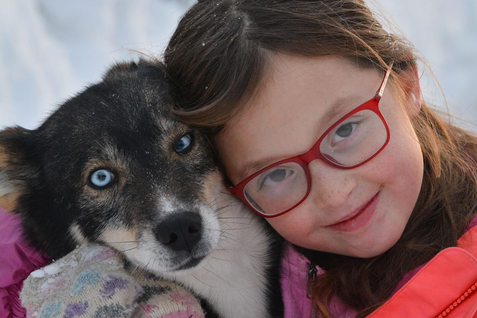 l'esperienza con gli husky dei bambini con istruttore